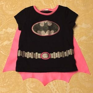 Batman T-Shirt Detachable Pink Cape Girls Size 4T